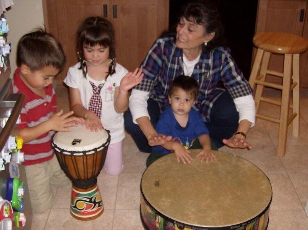 kids and me making music