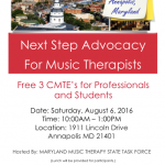 MD Music Therapists: Next Step Advocacy For Music Therapists!