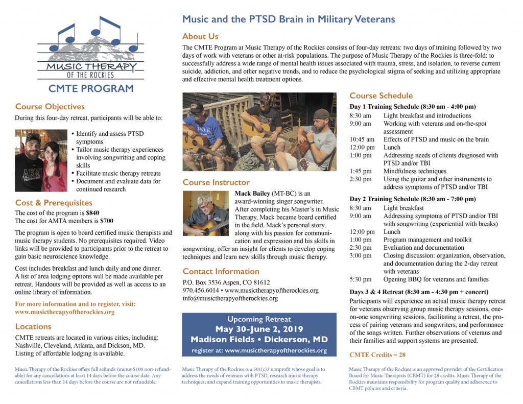 Music and the PTSD Brain in Military Veterans CMTE