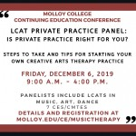 LCAT Private Practice Panel at Molloy College Conference in December