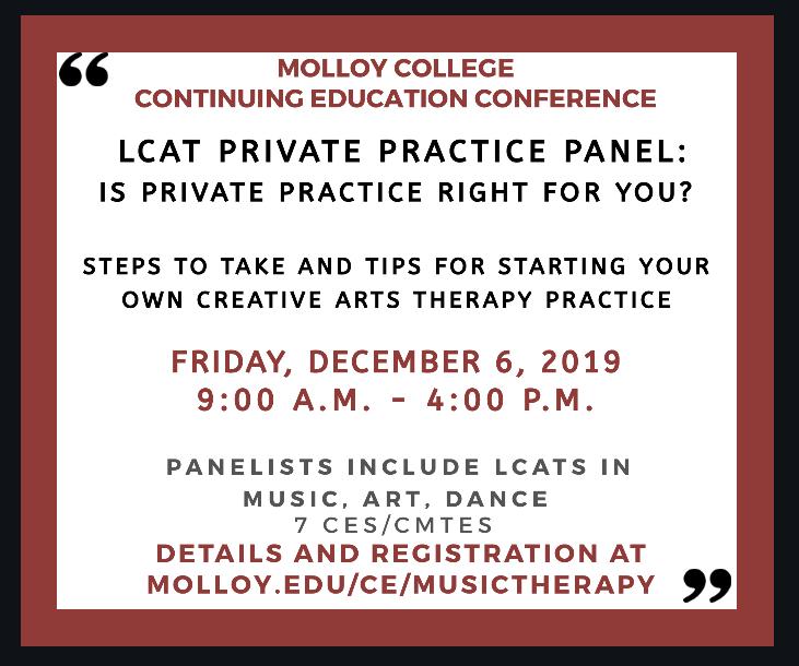 LCAT Private Practice Panel flyer