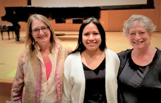 Shown here are Elizabeth Schwartz, MA, LCAT, MT-BC; Ivette Farciert-Vivar, MT-BC; and Donna Polen, LCAT, MT-BC of the NYSTF.